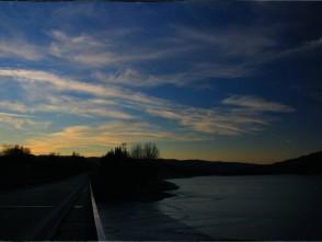 Západ slunce nad přehradou Křetínkou vLetovicích